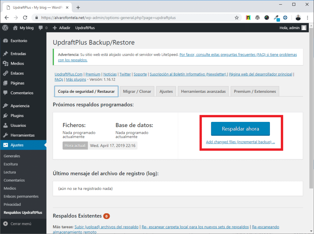 copia de seguridad wordpress