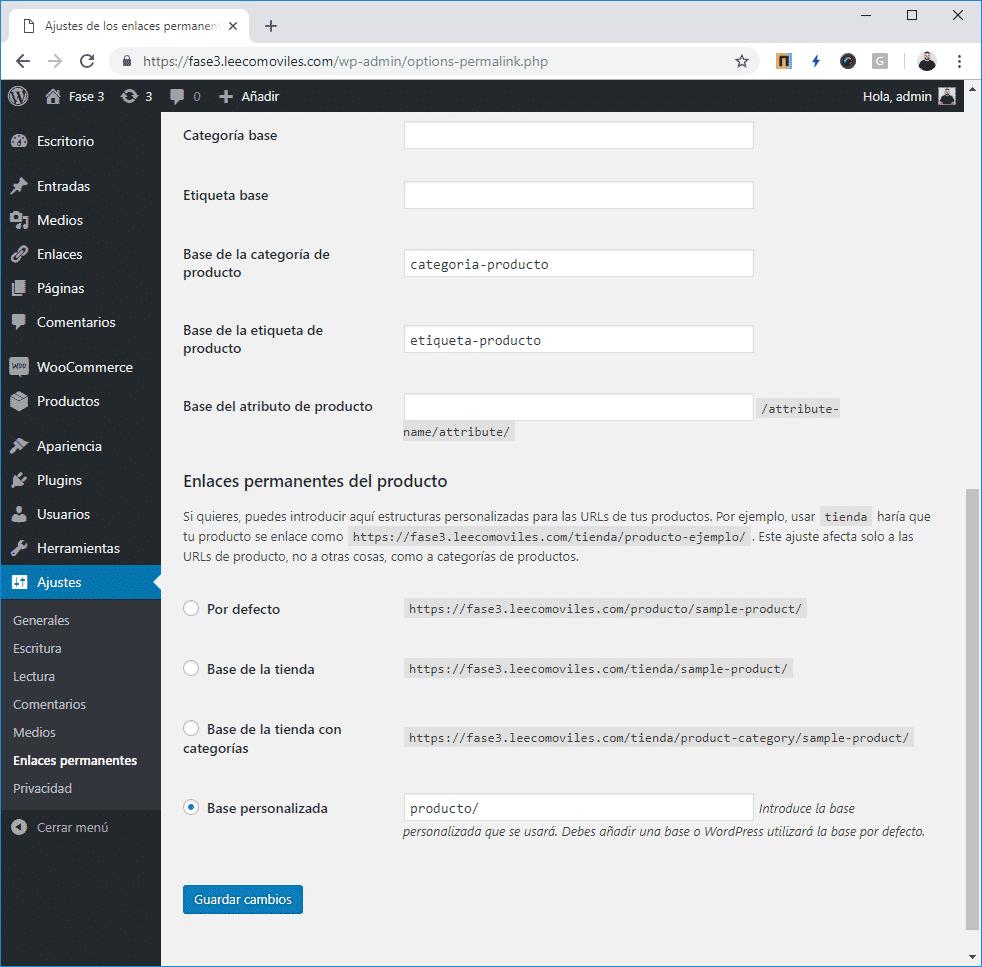 personalizar enlaces woocommerce