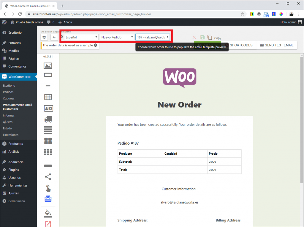 personalizar email woocommerce